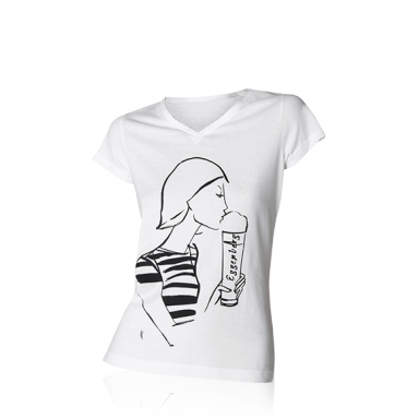 "T-Shirt ""Design"" Damen weiß (S,M,L,XL)"